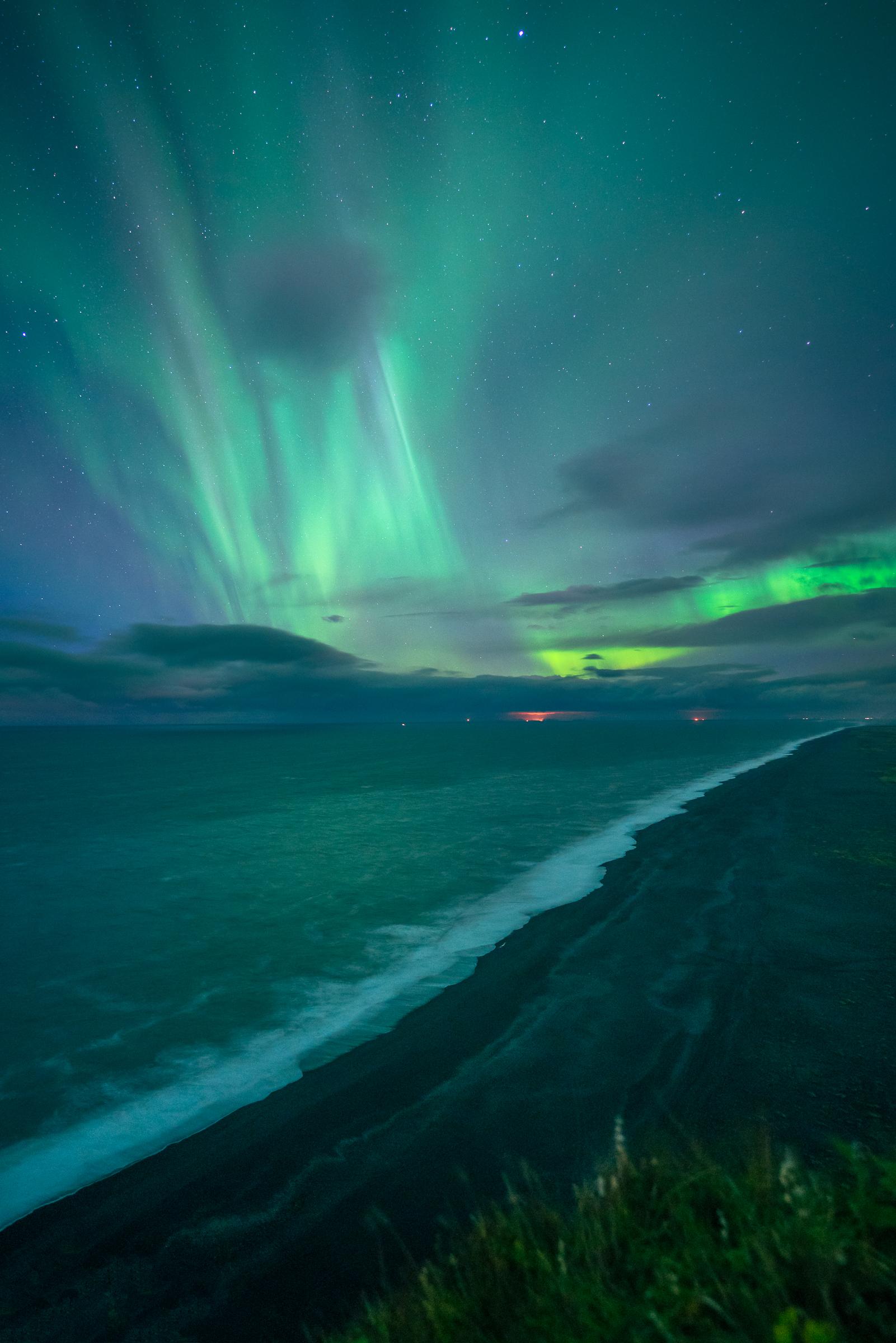 Auroras over Black Sand Beach_